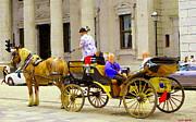 Carriage Ride On Cobblestones Rue Notre Dame Tan Horse Golden Caleche Old Port Quebec Scene Cspandau Print by Carole Spandau