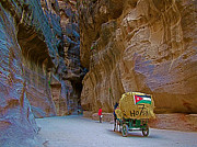 Jordan Digital Art Prints - Carriage With a Jordanian Flag in the Gorge in Petra-Jordan Print by Ruth Hager