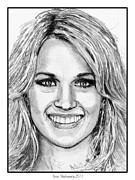 Closeups Drawings - Carrie Underwood in 2011 by J McCombie