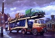 Streetscene Paintings - Carrimore car transporter at Longbridge. by Mike  Jeffries