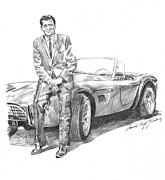 Carroll Shelby Portrait Prints - Carroll Shelby and CSX 2000 Print by David Lloyd Glover