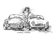 Pencil Drawings Drawings - Carroll Shelby and the Cobras by David Lloyd Glover
