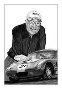 Dallas Drawings Acrylic Prints - Carroll Shelby    Rest in peace Acrylic Print by Jack Pumphrey