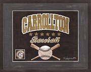 Baseball Painting Metal Prints - Carrollton Baseball Metal Print by Herb Strobino