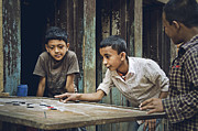 Photojournalism Prints - Carrom Boys Print by Valerie Rosen