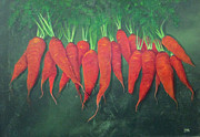 Farm Stand Painting Prints - Carrots and More Carrots Print by Tina McCurdy