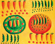 Vegetables Paintings - Carrots and Peas  by Julie Nicholls