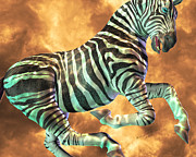 Zebra Mixed Media - Carrousel  by Betsy A Cutler East Coast Barrier Islands