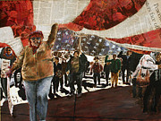 Protest Painting Metal Prints - Carrying the Flag Metal Print by Brad Geers