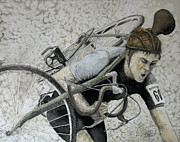 Vintage Bike Painting Originals - Carrying Vintage Bicycle In Mud by Tanya Petruk