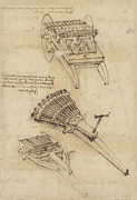 Italy Drawings Framed Prints - Cart and weapons from Atlantic Codex Framed Print by Leonardo Da Vinci