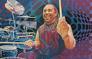 Band Drawings Prints - Carter Beauford Pop-Op Series Print by Joshua Morton