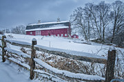 Split Rail Fence Photo Prints - Carter Farm - Litchfield Hills Winter scene Print by Thomas Schoeller