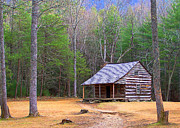 Tennessee Landmark Prints - Carter Shields Cabin II Print by Jim Finch