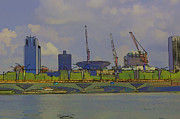 Singapore Prints - Cartoon - Bridge on the Marina reservoir  Print by Ashish Agarwal