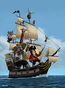 Cartoon  Lion Posters - Cartoon Animal Pirate Ship Poster by Martin Davey