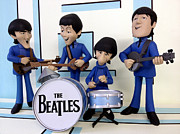 Paul Mc Cartney Prints - Cartoon Beatles Print by Kenneth A Mc Williams