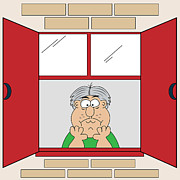 Cartooning Framed Prints - Cartoon Bored Old Man at Window Framed Print by Toots Hallam