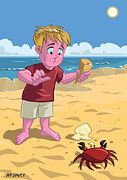 Children Ice Cream Prints - Cartoon Boy With Crab On Beach Print by Martin Davey