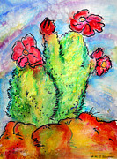 Scottsdale Western Paintings - Cartoon Cactus by M C Sturman