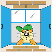 Baseball Cap Digital Art Prints - Cartoon Cat at Window Print by Toots Hallam