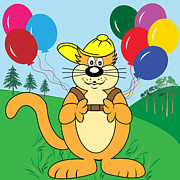 Baseball Cap Digital Art Prints - Cartoon Cat with Balloons in Park Print by Toots Hallam