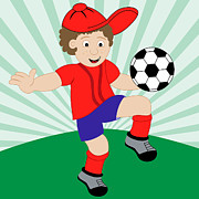 Baseball Cap Digital Art Prints - Cartoon Child Playing Football Print by Toots Hallam