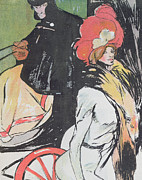 Prostitute Prints - Cartoon Depicating a Cabman with a Courtesan Print by Francisco Xavier Gose