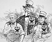 Usa Drawings Prints - Cartoon depicting the impact of Franklin D Roosevelt  Print by American School