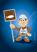 Ramspott Prints - Cartoon Fisherman Fishing Sign Print by Frank Ramspott