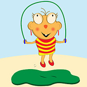Skipping Rope Prints - Cartoon Girl Skipping Print by Toots Hallam