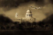 Home Front Prints - Cartoon - Hurricanes over St Pauls Print by Gary Eason