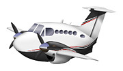 Vector Image Prints - Cartoon Illustration Of A Beechcraft Print by Inkworm