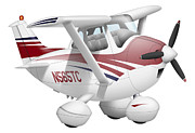 Vector Image Prints - Cartoon Illustration Of A Cessna 182 Print by Inkworm
