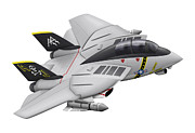 Aviation Artwork Metal Prints - Cartoon Illustration Of A F-14 Tomcat Metal Print by Inkworm