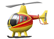 Utility Helicopters Framed Prints - Cartoon Illustration Of A Robinson R44 Framed Print by Inkworm