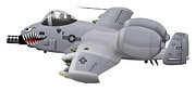 Gunship Prints - Cartoon Illustration Of An A-10 Print by Inkworm