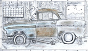 Pencil Drawing Pastels Prints - Cartoon Rustic Car  Print by Gerald Griffin