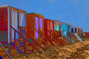 Sheds Framed Prints - Cartoonised Beach Huts Framed Print by Chris Thaxter