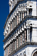 Lucca Framed Prints - Carved columns on Lucca Cathedral Framed Print by Mathew Lodge