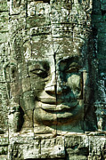 Angkor Art - Carved face at Bayon Temple Angkor Cambodia by Fototrav Print