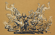 Surrealism Reliefs Metal Prints - Carved Men Metal Print by Maria Arango