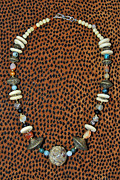Antique Jewelry - Carved Stone Koi and antique African bead necklace by Barbara Anna Knauf