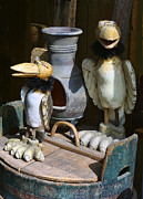 Handcrafted Art - Carved Wooden Birds by Linda Phelps