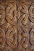 Tsminda Sameba Photo Metal Prints - Carved wooden door in the Tsminda Sameba Cathedral Tbilisi Metal Print by Robert Preston