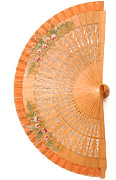 Handcrafted Prints - Carved Wooden Fan Print by Loree Johnson