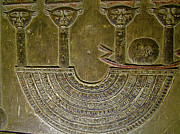 Hathor Posters - Carving Like Cleopatras Necklace in Crypt in Temple of Hathor in Dendera Poster by Ruth Hager