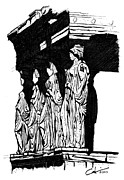 Caryatids Prints - Caryatids in High Contrast Print by Calvin Durham
