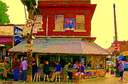 Cafes Paintings - Casa Acoreana Paris Style Sidewalk Cafe Augusta Ave Toronto Paintings City Scenes C Spandau Art by Carole Spandau