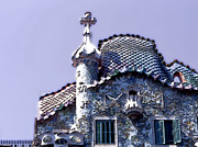 Rooftops Digital Art - Casa Batllo - Barcelona by Linda  Parker